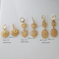 Stud Min Bestel 10 $ / Can Mix Design / 3 Styles - Geel Gold GP Overlay Coated Huggie Dangle Heart and Oval Charm Earring / 1