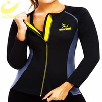 LAZAWG Frauen Neopren Sauna Weste mit Ärmeln Gym Hot Sweat Sauna Body Shaper Tummy Fat Burner Workout Jacke Top Full Zip Up