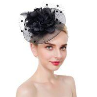 Women Elegant Headwear Charming With Clip Headband Fascinator Hat Flower Cocktail Party Wedding Mesh Bridal Feathers