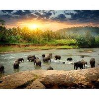 Dipinti dipinti di numeri fai da te Drop 40x50 50x65cm piccolo fiume Elefante Elefante Animale Canvas Decorazione di nozze Decorazione Art Picture Gift1