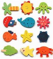 Animali frigo magneti cartoon in legno pasta magnetica decorare bambino regalo studente messaggio messaggio colore rana stella marina delfino balena 0 13hp m2