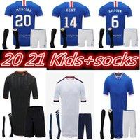 2020 2021Glasgow 레인저스 FC Gerrard 축구 유니폼 2020-2021 글래스고 레인저 Defoe Dauis Men + Kids 양말 키트 축구 셔츠