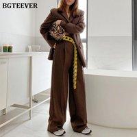 BGTEever Vintage surdimensionné Femmes Pantalon Suit des costumes à poils à poils à poils à poils à poils à poils large Pantalons de jambe 2021 automne Femelle Blazer Set