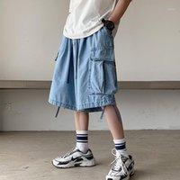 iidossan 2020 cor sólida denim shorts homens bolsos regularmente encaixar enorme jeans curtos homem casual shorts denim hip hop calças1