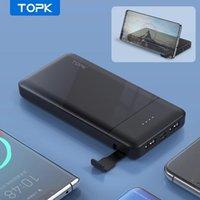 Topk 전원 은행 10000mah 전화 홀더 휴대용 충전기 PowerBank 외부 배터리 전화 12 Pro Max Xiaomi Mi