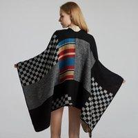 Шарфы негабаритные женские длинные шаль зима вязаный плащ пончо женщины вне одежды шарф черный плед мыс осенью весна