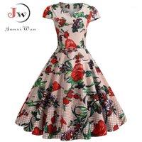 여름 빈티지 드레스 여성 우아한 꽃 프린트 슬림 섹시한 라인 V 넥 댄스 파티 드레스 캐주얼 플러스 크기 휴일 미디 dress1