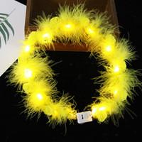 LED Tüy Hairband Işık Ebedi Garland Işık Up Saç Çelenk Noel Parlayan Çelenk Parti Çiçek Kafa Dekorasyon GGA3844-1