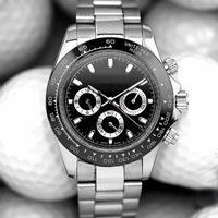 남성 망 시계 모든 다이얼 작동 팻 리지가 자동 시계 운동 기계적 스테인레스 스틸 손목 시계