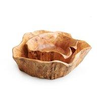 Creatieve houten kom grote gedroogde fruitplaat multi-grain snoepschotel raster hout wortel snijwerk lade huishoudelijke mengkom