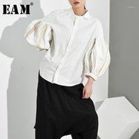[EAM] Женщины белые кисточки разбитые темпераментные блузка новый отворот с длинным рукавом свободные подходящие рубашки мода прилив весна осень 2019 JE82001