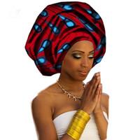 Mode Coton africain Turban Cire Tissu d'impression géométrique Coton Turban Bandeaux 50cm * 180cm New Style Livraison gratuite