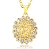 Anhänger Halsketten Heilige Jungfrau Maria Halskette Religion Zierlich Goldener Christian Cubic Zirkon Frauen Collier Femme Schmuck