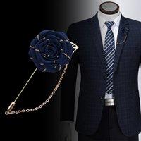 Tecido misto vintage rosa broches borla cadeia homens terno collar broche broche lapela pin broches para mulheres acessórios de jóias