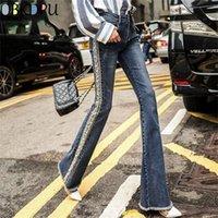 Artı Boyutu Saçaklı Inci Işlemeli Flare Kot Kadın Boot Kesim Pantolon Rahat Streç Sıska Çan Alt Kot Pantolon Streetwear 201225
