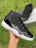 High Air Authentic 11 25th Anniversary Basketball Shoes Black Clear White Metallic Silver Real Carbon Fiber Retro Men Sneakers With Box