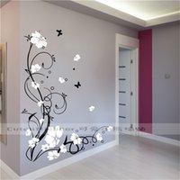 Grote Vlinder Vine Bloem Vinyl Verwijderbare Muurstickers Boom Wall Art Decals Muurschildering voor Woonkamer Slaapkamer Home Decor TX-109 201207