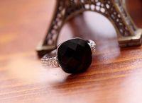 Kadınlar Düğün Pembe Siyah Oniks Taş Parmak Yüzük Kristal Retro Kişilik Taş Yüzük için Halkalar