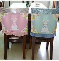 Пасхальные кресла Чехлы 48 * 48см Ткань Розовый Голубой Кролик Печатная Крышка Стул Счастливой Пасхи Партия Домашнее Украшение Председателя
