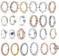 2018 primavera Pandora anello 925 sterling argento rosa oro rosa incantato corona anelli originali moda fai da te charms gioielli per le donne che fanno