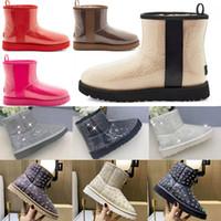2021 مصمم النساء أستراليا الأسترالي الأحذية النساء الشتاء الثلوج الفراء فروي الحرير التمهيد الكاحل الجوارب الفراء الجلود في الهواء الطلق أحذية #BB