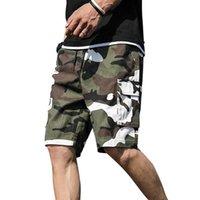 Los hombres de verano al aire libre del camuflaje de carga pantalones cortos de algodón bolsillo mitad pantalones ocasionales de los mediados de cintura con cordón flojo Pantalones cortos Peto 7XL