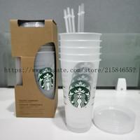 5pcs ozoz gobelets en plastique buvant de jus de jus de boisson avec une lèvre et une tasse de café magique de paille Costom Starbucks Coupe transparente en plastique