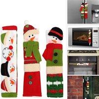 Navidad Nevera cubiertas de la manija muñeco de nieve Decoración Microondas Nevera puerta cubierta de la manija de la aplicación de cocina JK2011PH