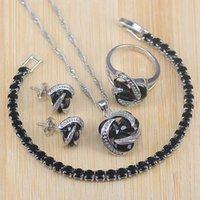 Risenj Grandes Conjuntos Venda de jóias para Mulheres festa de jóias presentes colar de prata Cor Preto CZ / pingentes / brinco / Pulseiras Sets / anel