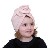 قبعات القبعات 2-8years الأطفال الحلوى الألوان الضلع متماسكة عقال طفل أطفال فتاة لينة زهرة bowknot طعرب الشعر العصابات مرونة headwrap
