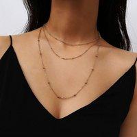 Çok Katmanlı Bakır Boncuk Uzun Zincirler Kadınlar için Gerdanlık Kolye Bayanlar Zarif Klavikula Collares Kolye Moda Takı XR1878