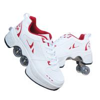 Chaussures chaudes Sneakers Casual Marcher des patins à roulettes déformés Patins de roue pour Adult Hommes Femmes Unisex Enfant Patins à la fine Quatre C1008
