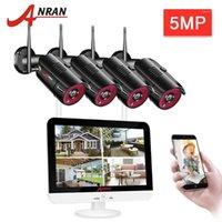 Anran 5MP CCTV فيديو مراقبة فيديو كيت الأمن الرئيسية نظام الكاميرا 12 بوصة مراقب NVR كيت 1920P في الهواء الطلق للرؤية الليلية wifi كاميرا 1