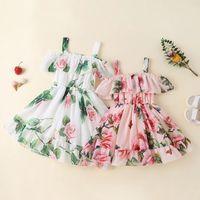 아기 소녀 드레스 장미 꽃이 인쇄 된 새로운 여름 면화 부티크 귀여운 조끼 슬립 드레스 캐주얼