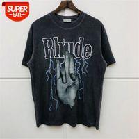 HIP HOP 2020SS Rhude T-shirt lavé Do vieil Qualité Streetwear Streetwear Style d'été Rhude Top T-shirts # KH8V