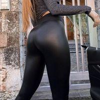 Зимние кожаные леггинсы женщины сексуальные ночные клуб бедра подъемные повседневные черные плюс размер 5XL PU брюки с высокой талией теплые леггинсы мода q1224