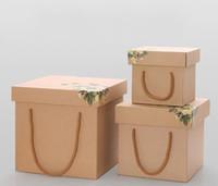 Caixa de presente do papel de Kraft universal que dobra a caixa portátil do pacote do presente portátil