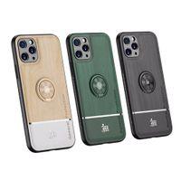 우드 그레인 PU 가죽 실리콘 자동차 홀더 링 케이스 아이폰 (11) 프로 MAX XR X가 X 7 플러스 8Plus SE 2020 전화 커버 Fundas 카파에 대한