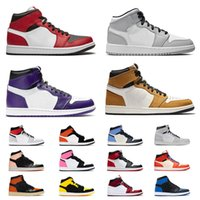 Retro 1 High 1s Mid Low Jumpman الرجال النساء 1 أحذية كرة السلة 1S عالية حجر السج المحكصف شيكاغو ضوء دخان رمادي المدربين محطمة اللوح الخلفي حذاء رياضة