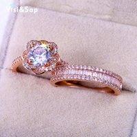 Visisap couleur or rose fleur Bagues de fiançailles mode pour femmes la pleine Pierre Brillant luxe anneau de mariage Dropshipping B2803