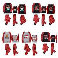 Navidad Navidad Plaid Pijamas Dos piezas Trajes de partido familiar 2020 2021 Máscara Reindeer Santa Cláusula PJM Set Niños Padres Casa Ropa E110301