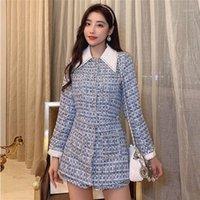 Caída de alta calidad Invierno 2021 New Fashion Rompers Mujeres Mono de manga larga Diamantes Botón empalmado Plaid Tweed Jumpsuit1