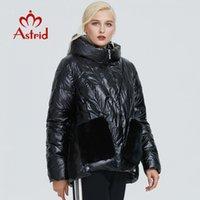 Astrid Winter Jacket Mulheres Black Lustroso moda casaco de pelúcia costura grande design de bolso quente mulheres negras parka ar-9231 201019