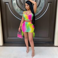 Summer Tie dye Woman Pants 2 Piece Sets Womens Outfits Tank Top And Shorts Tracksuit Matching Sets streetwear chandal mujer