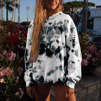 여성 후드 패션 넥타이 염료 인쇄 운동복 암소 인쇄 긴 소매 가을 겨울 의류 스트리트 하라주쿠 까마귀를 포켓