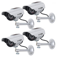 4 Pack Solar Powered Dummy Fake Simulated Surveillance Secur...