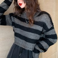 Rosetic Pullovers Striped Short Women Sweater Casual Knitwear Streetwear Jumper Gray Black Gothic Knitted Sweaters Goth 201017