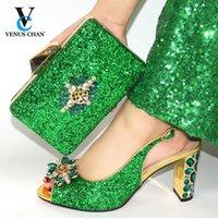 Обувь платье ретро подходящая сумка набор в зеленом цвете итальянских женщин свадьба и с удобными каблуками