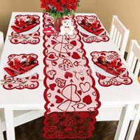 Sevgililer günü süslemeleri setleri Sevgililer günü masa koşucu ve placemats masa paspaslar pedleri ev düğün yıldönümü parti için HH21-45