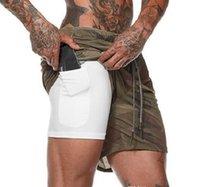 2021 Nouveaux hommes Sports Sports Compression Poche de téléphone Pochette Sous la couche Couche courte Pantalon Athlétique Solide Collants Pantalons